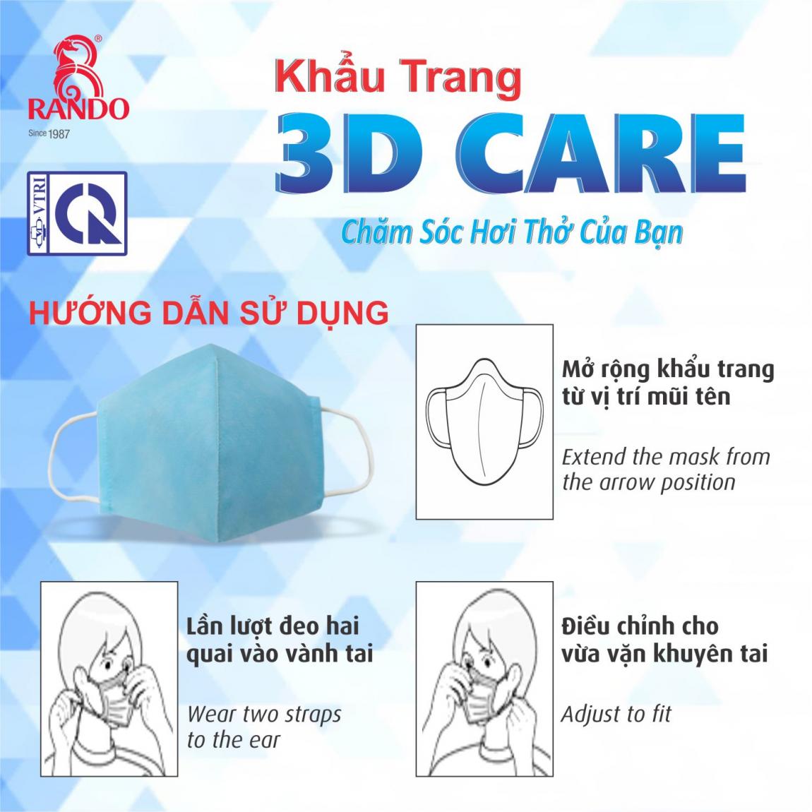 Hướng dẫn sử dụng khẩu trang 3D CARE